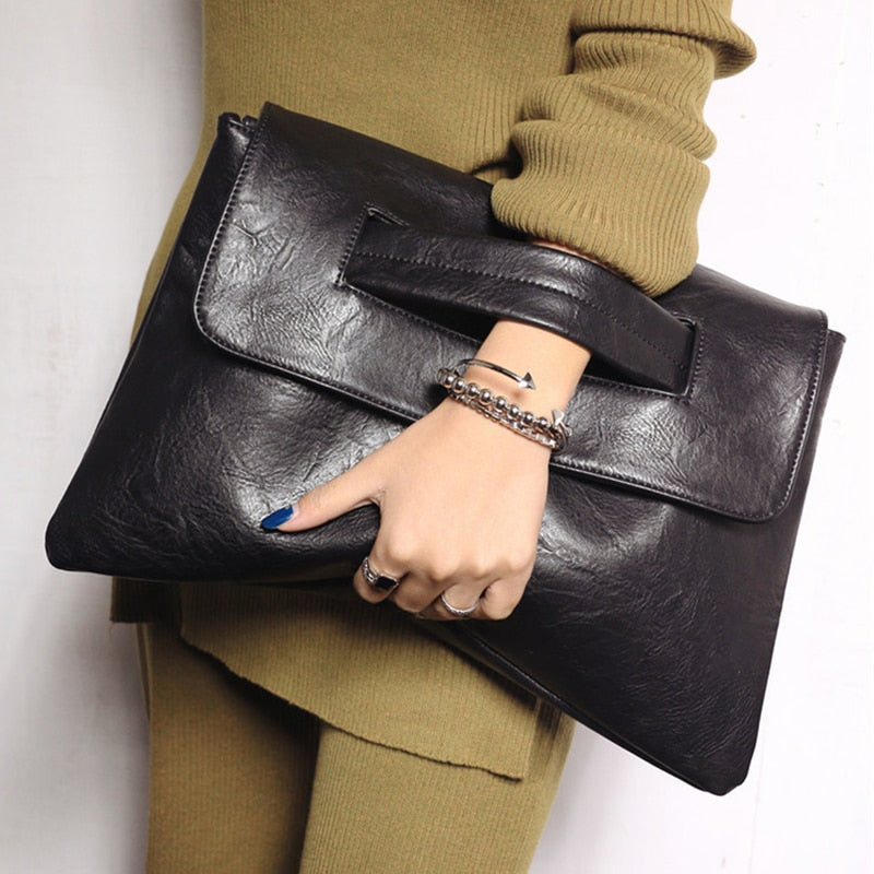 Women Day Clutch Leather Handbags - Large Size
