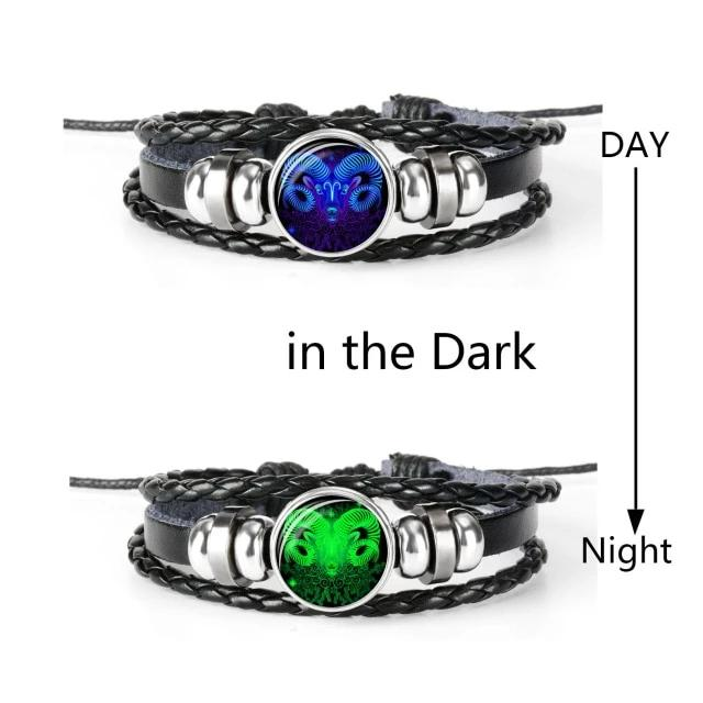 Men 12 Constellation Zodiac Signs Charm Bracelets