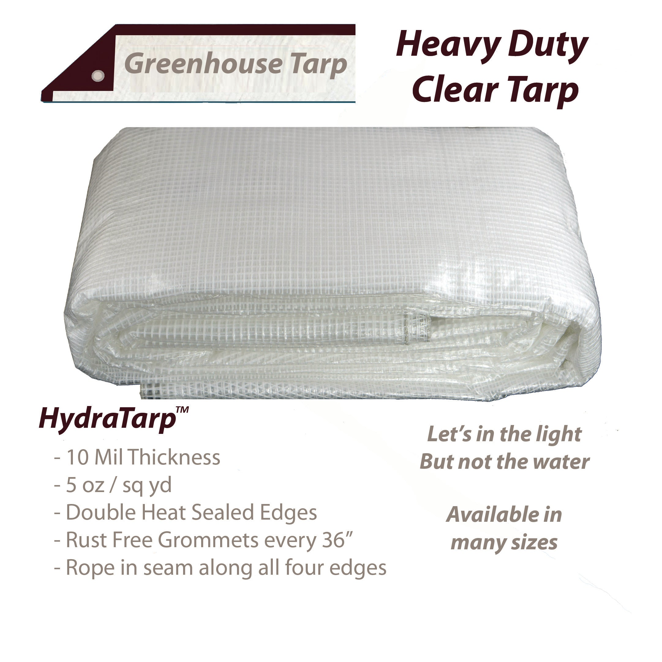 Watershed Innovations HydraTarp 12 Ft 16mil Thick X 16 Ft Super Heavy Duty Waterproof Tarp White // Brown Reversible Tarp