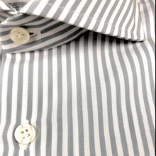 Load image into Gallery viewer, Grey and White Stripe Slim Fit Poplin Cotton Shirt with Spread Collar