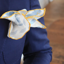 Load image into Gallery viewer, Grey, White and Yellow Silk Pocket Square