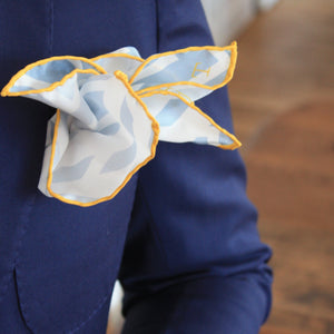 Grey, White and Yellow Silk Pocket Square