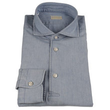 Load image into Gallery viewer, Blue Chambray Cotton Long-Sleeve Polo Shirt