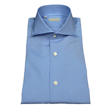 Load image into Gallery viewer, Cornflower Blue Slim Fit Poplin Cotton Shirt with Spread Collar
