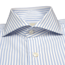 Load image into Gallery viewer, Blue and White Stripe Slim Fit Poplin Cotton Shirt with Spread Collar