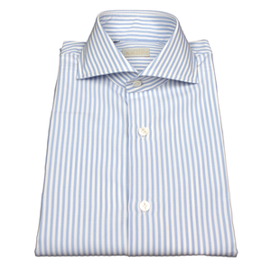 Blue and White Stripe Slim Fit Poplin Cotton Shirt with Spread Collar