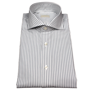 Grey and White Stripe Slim Fit Poplin Cotton Shirt with Spread Collar