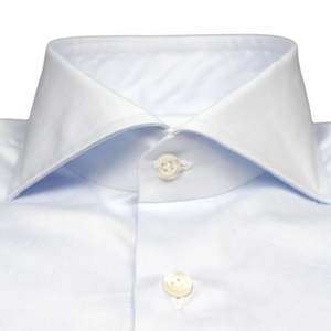 Blue Slim Fit Poplin Cotton Shirt with Spread Collar