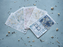 Load image into Gallery viewer, Hobonichi Weeks Weekly Kit - May Wisteria Floral Stickers - Gold Foil