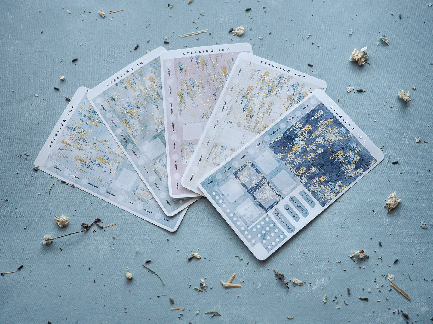Hobonichi Weeks Weekly Kit - May Wisteria Floral Stickers - Gold Foil