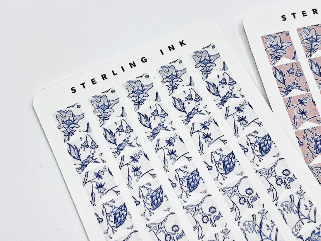 November Floral Textile Stickers - Indigo (Flags)