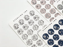 Load image into Gallery viewer, November Floral Textile Stickers - Black and White (Large Icons)