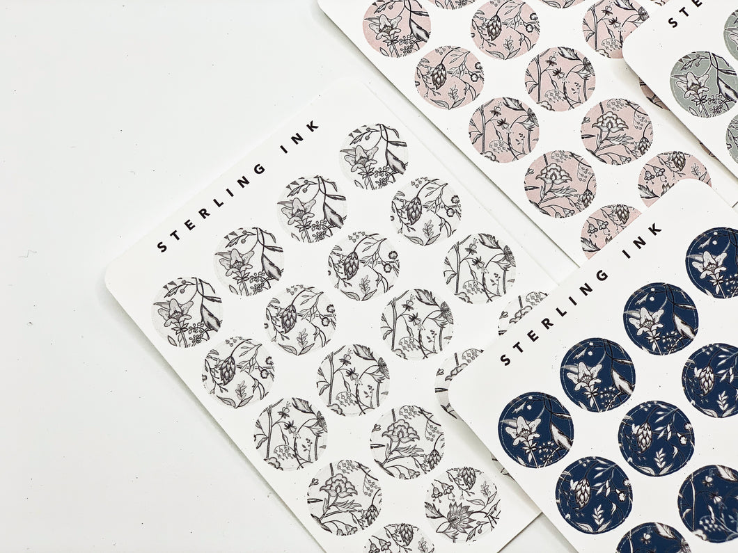 November Floral Textile Stickers - Black and White (Large Icons)