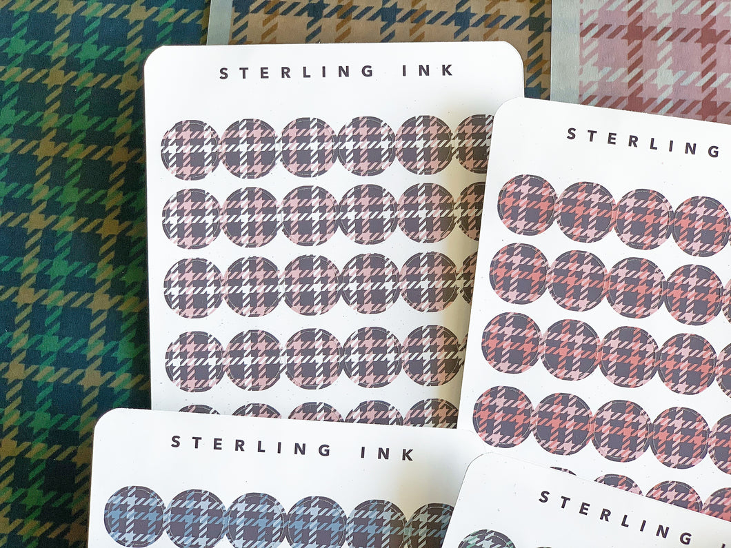 November Houndstooth Plaid Textile Stickers - Set I (Small Icon)