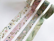 Load image into Gallery viewer, Watercolor Floral Washi Tape - White