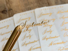 Load image into Gallery viewer, Monthly Handlettered Labels - Gold Foil