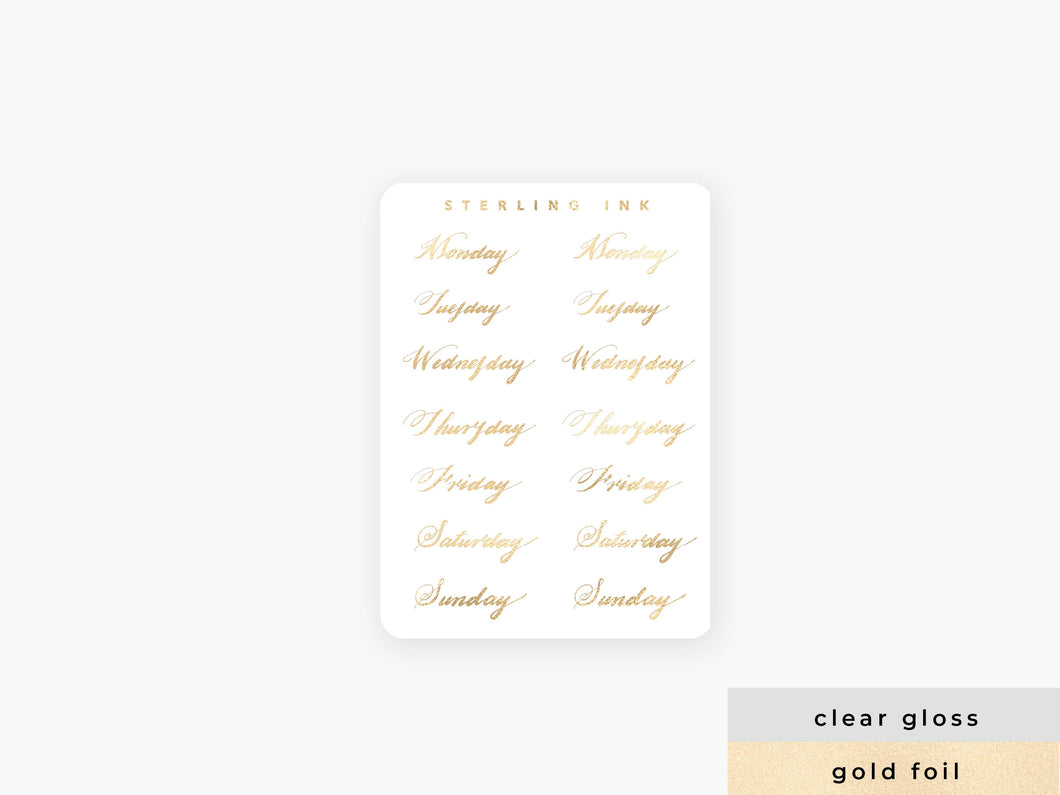 Weekday Handlettered Labels - Gold Foil