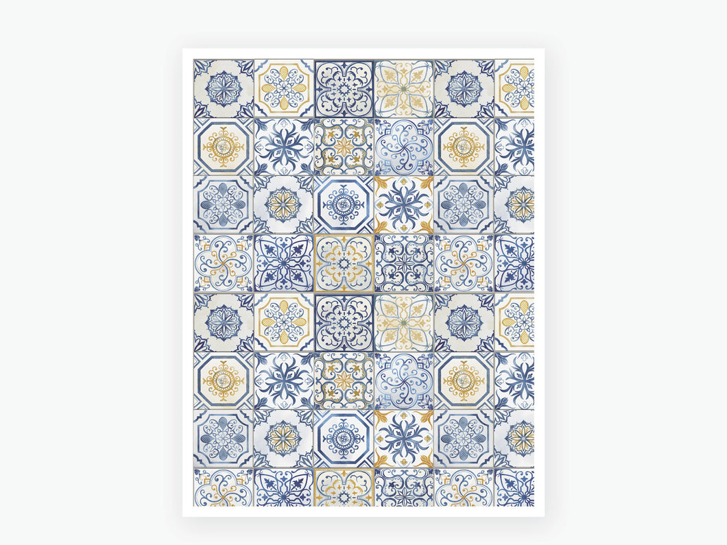 August Tile Vellum 2020 - Blue and Yellow