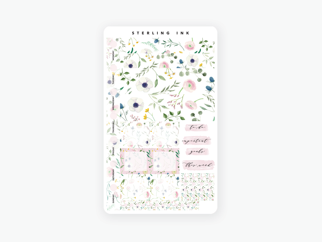 Hobonichi Weeks Weekly Kit: June Florals 2020-White