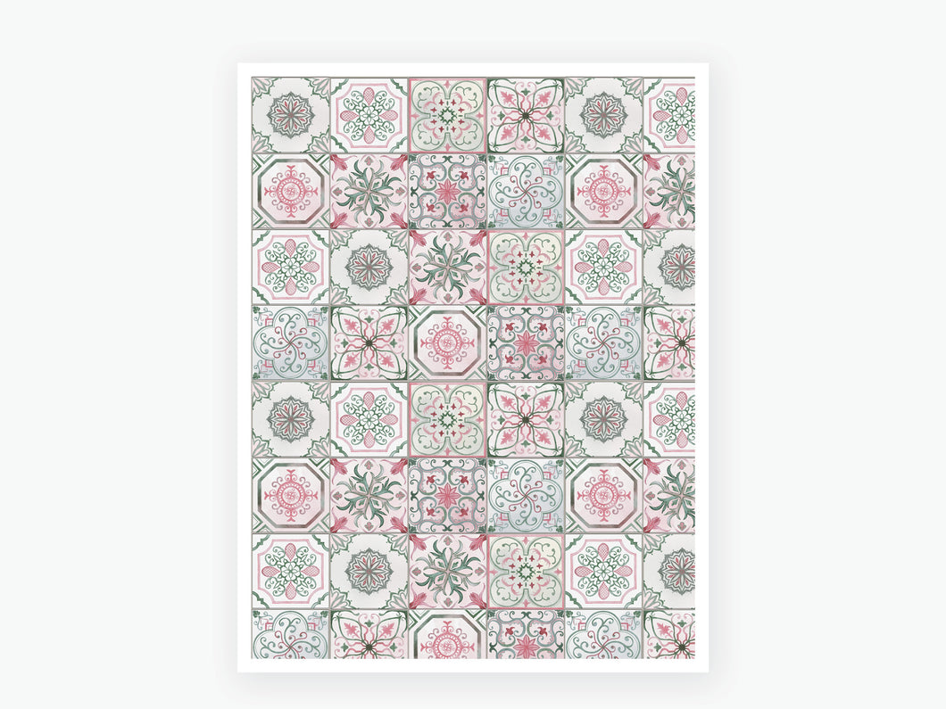August Tile Vellum 2020 - Pink and Green