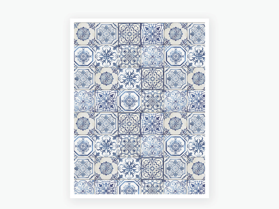 August Tile Vellum 2020 - Blue and White
