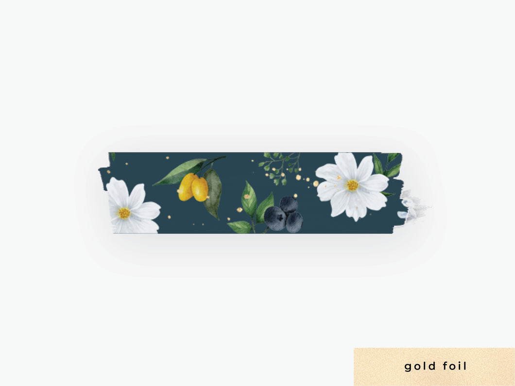 White Cosmos Floral Washi - Midnight Blue