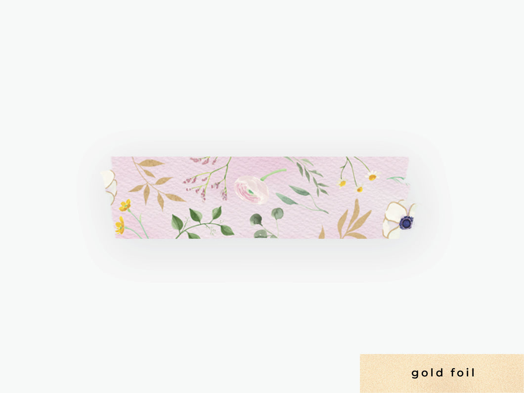 Watercolor Floral Washi Tape- Pink