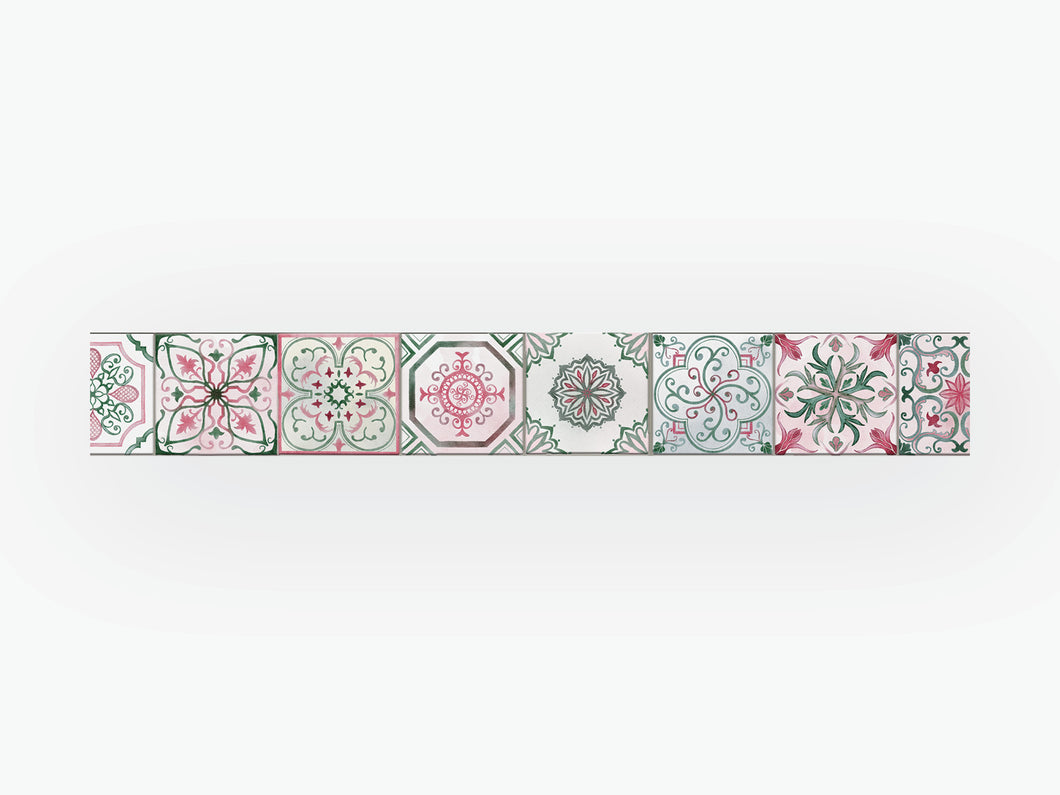 August Vintage Tile Washi Tape - Green and Pink