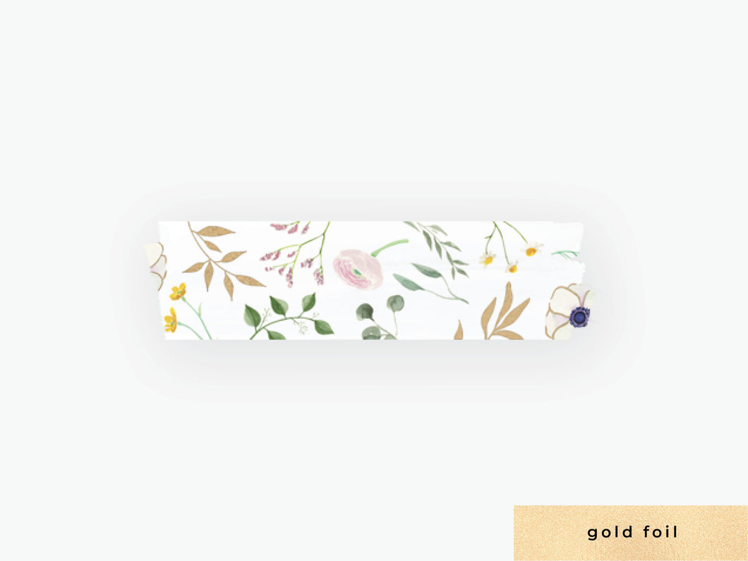 Watercolor Floral Washi Tape - White