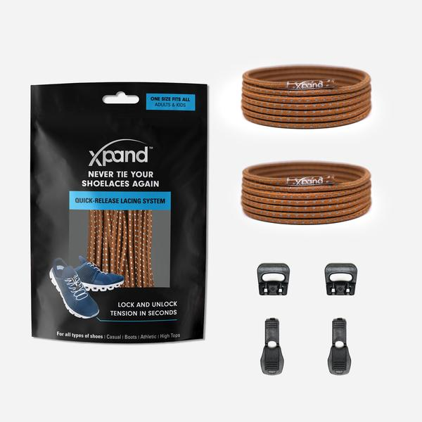 Xpand Laces Quick Release Round No Tie Lacing System - Brown Reflective