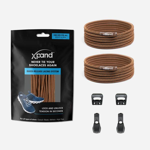 Xpand Laces Quick Release Round No Tie Lacing System - Brown