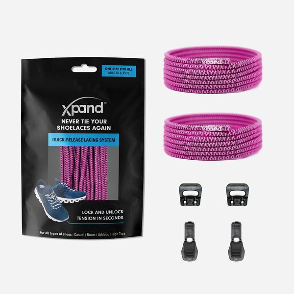Xpand Laces Quick Release Round No Tie Lacing System - Magenta