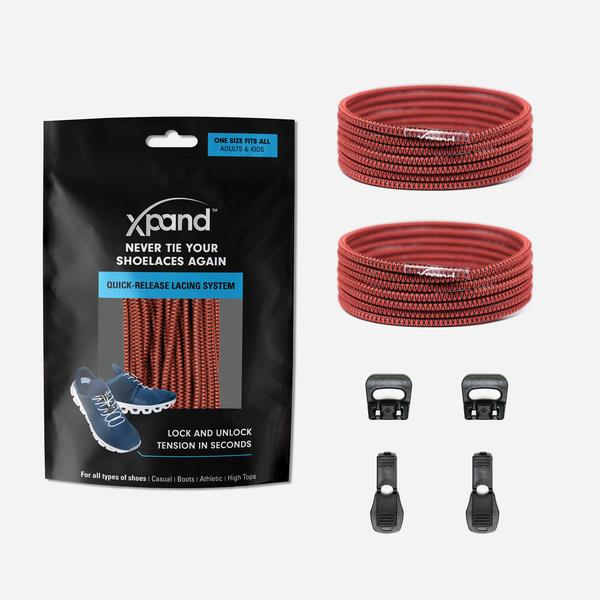 Xpand Laces Quick Release Round No Tie Lacing System - Maroon