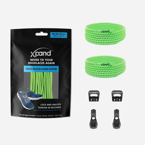 Xpand Laces Quick Release Round No Tie Lacing System - Neon Green Reflective