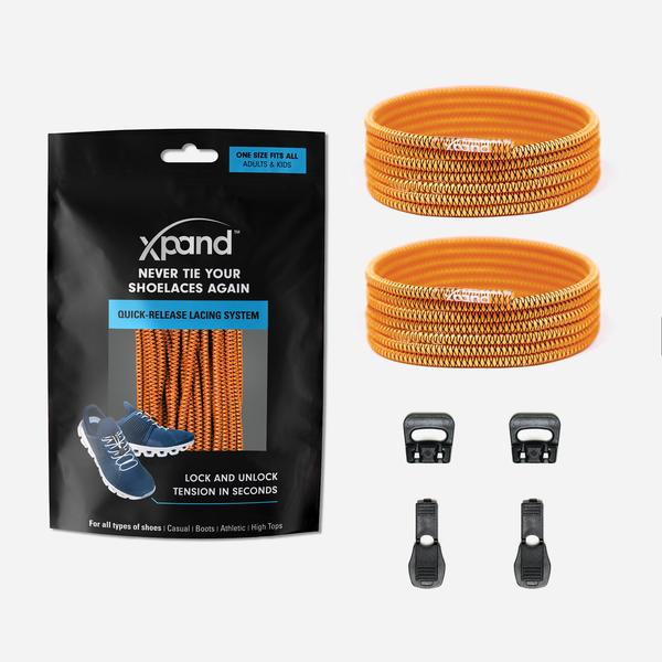 Xpand Laces Quick Release Round No Tie Lacing System - Neon Orange