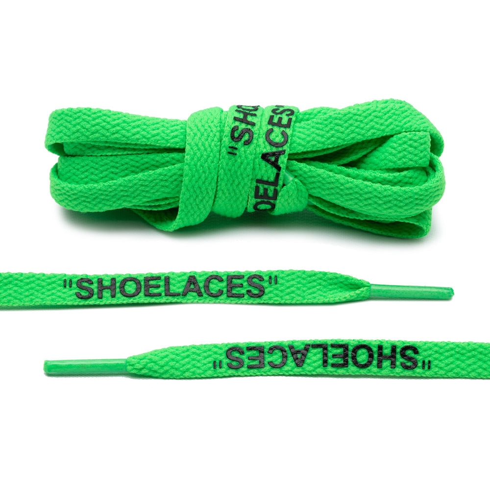 "Lace Lab Off-White Style Flat Laces - ""SHOELACES"" (Neon Green)"