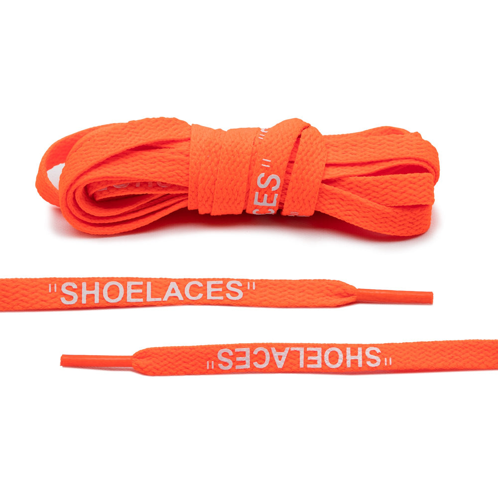 "Lace Lab Off-White Style Flat Laces - ""SHOELACES"" (Neon Orange)"