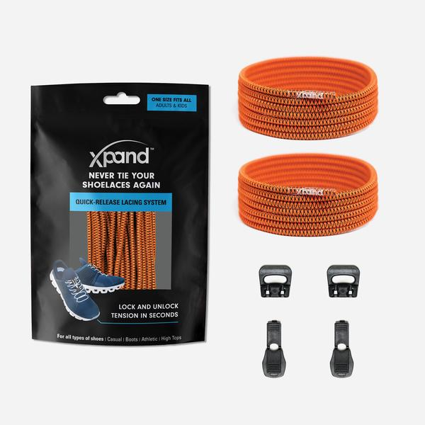 Xpand Laces Quick Release Round No Tie Lacing System - Pumpkin