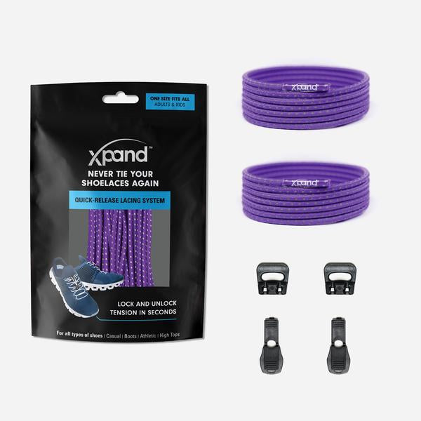 Xpand Laces Quick Release Round No Tie Lacing System - Purple Reflective