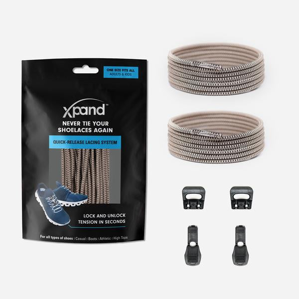 Xpand Laces Quick Release Round No Tie Lacing System - Sand