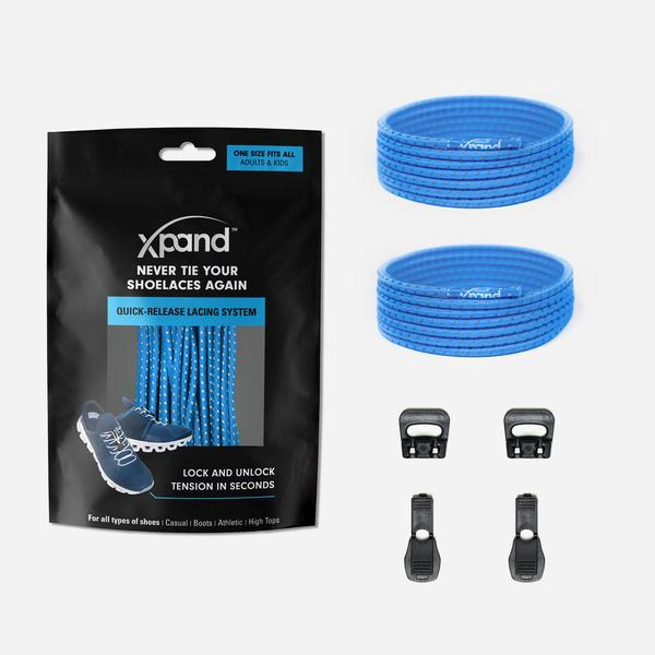 Xpand Laces Quick Release Round No Tie Lacing System - True Blue Reflective