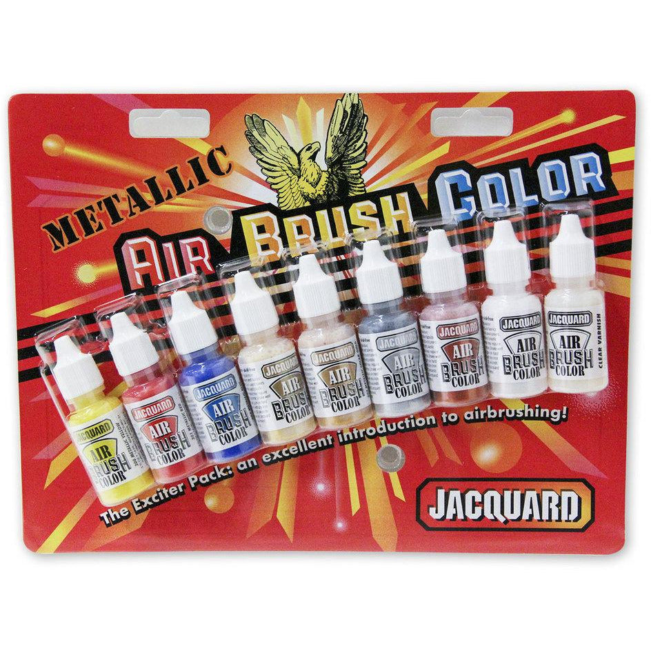 Jacquard Airbrush Colors Paint Metallic Exciter Pack - Starter Set