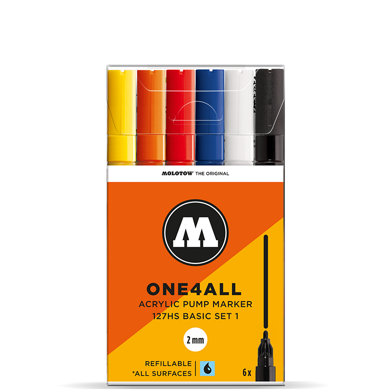 MOLOTOW ONE4ALL 127HS Marker Set - 2mm (Basic 1, 6 PACK)