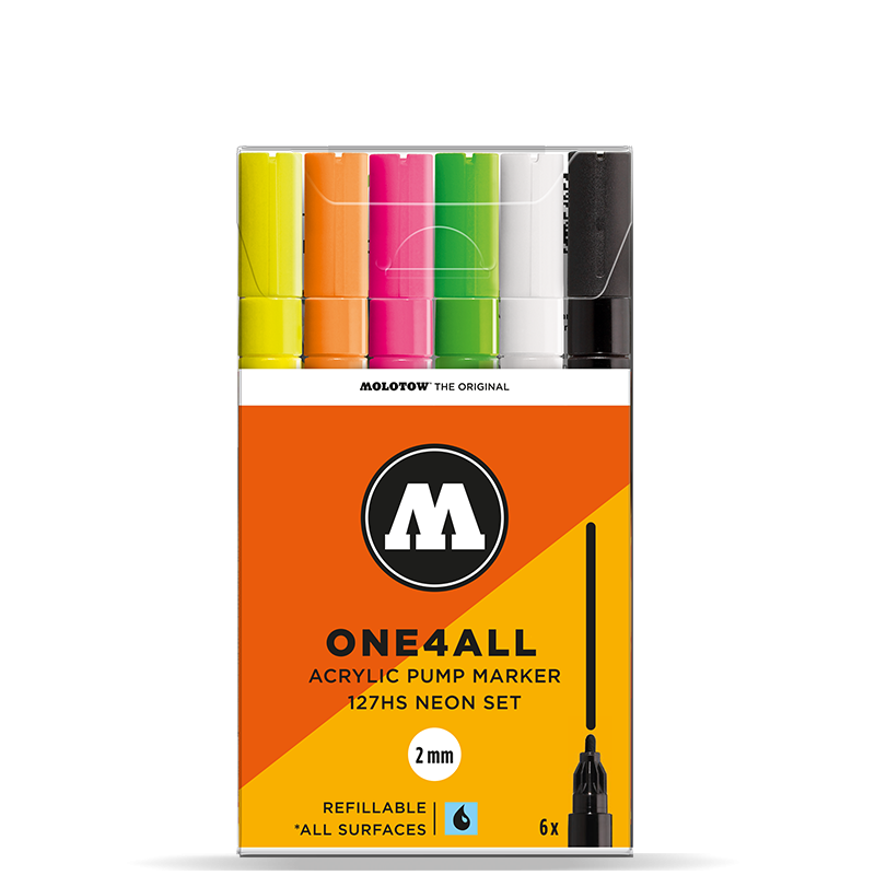 MOLOTOW ONE4ALL 127HS Marker Set - 2mm (Neon 6 PACK)