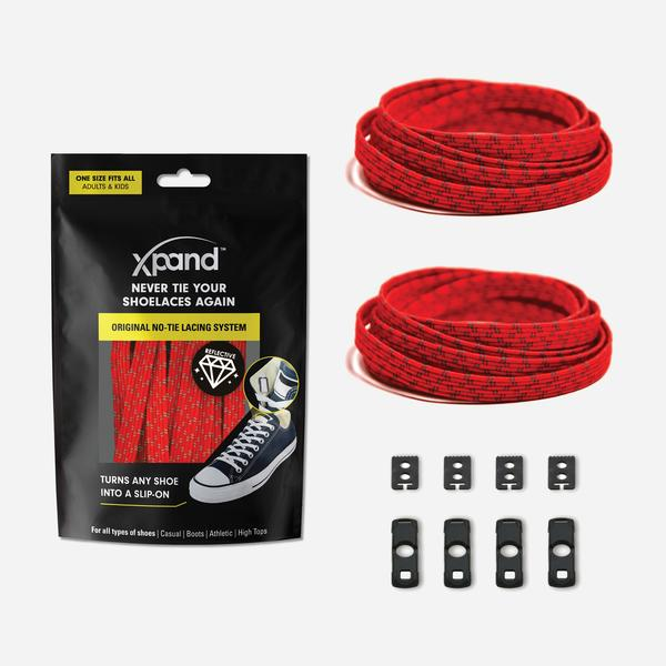 Xpand Laces Original Flat No Tie Lacing System - Red Reflective