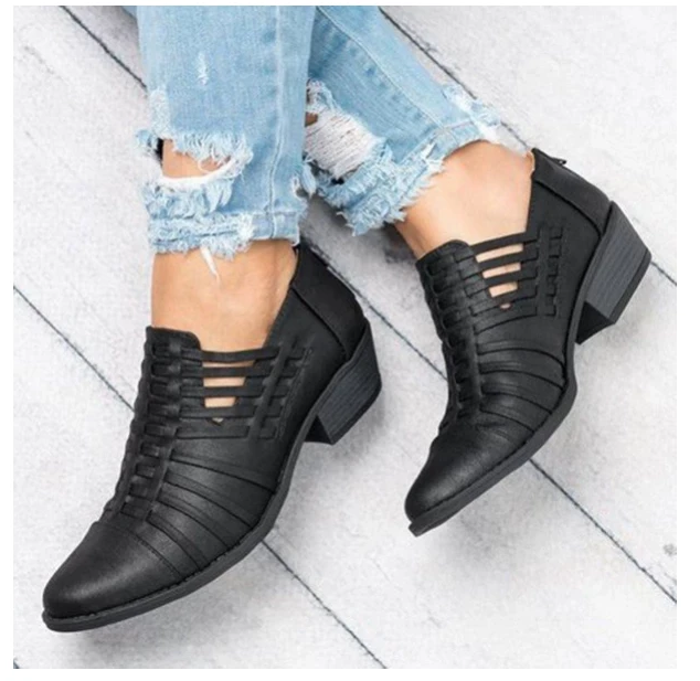Women's Braided Chunky Heel Fashion Oxford Shoes