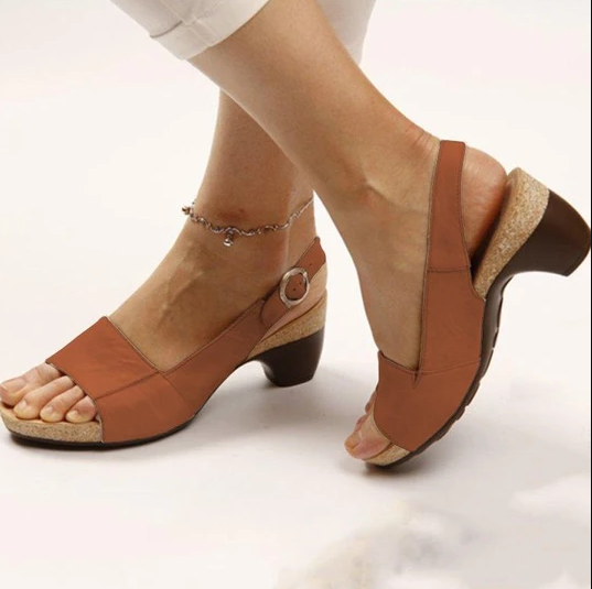 Women's Elegant & Comfortable Open Toe Low Chunky Heel Sandals