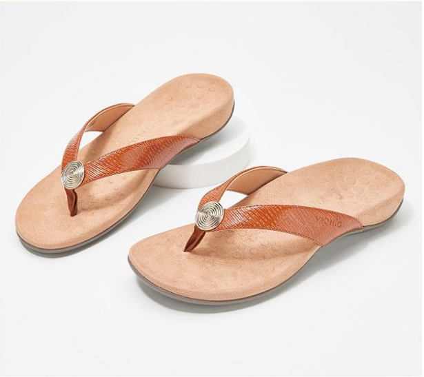 ARCH SUPPORT LEATHER THONG SANDALS