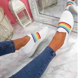 2020 Women's Breathable Colorful Mesh Flat Walking Casual Arch Support Sock Sneakers