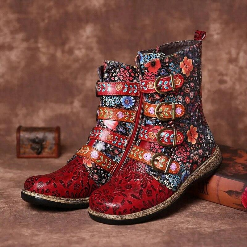 Vintage printed zipper leather boots(NOW 50% OFF)
